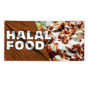 Halal Food Outdoor Advertising Printing Vinyl Banner Sign With Grommets