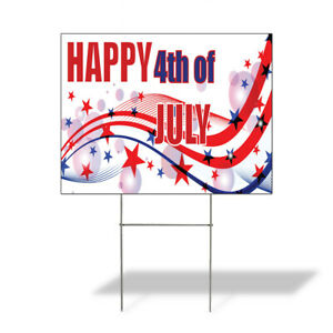 Weatherproof Yard Sign Happy 4th Of July Advertising Printing D Red Lawn Garden