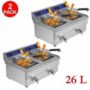 2x 26l Commercial Deep Fryer W Timer And Drain Fast Food French Frys Electric V