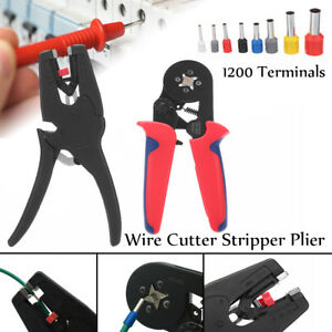 Crimp Tool Kit Ferrule Crimper Plier Wire Stripper 1200 Connector Cable Terminal