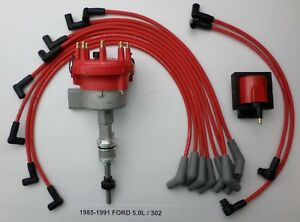 1985 1991 Ford 5 0l 302 Efi Distributor 48k V Coil Red Spark Plug Wires Usa