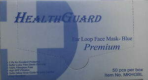 Healthguard Disposable Face Mask 3 ply Blue Ear loop 20 Boxes Qty 1 000 Masks