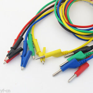 10set 5colors Silicone High Voltage 4mm Banana Plug To Alligator Clip Test Leads