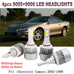 2 Pair 9006 9005 Led Hi Lo Beam Headlight Kit For Chevrolet Camaro 2002 1999