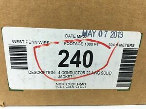 240 West Penn Wire 4 Conductor Cond 22 Awg Solid Jacket Bare Cmr New On Hand
