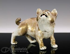 Exceptional Antique Japanese Porcelain Okimono Of Standing Cat