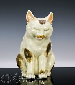 Wonderful Large Antique Japanese Pottery Okimono Of Sleeping Cat