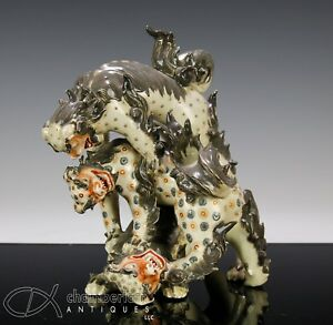 Unusual Antique Japanese Polychrome Okimono Statue Of Wrestling Lions Shishi