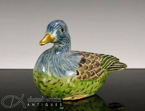 Fine Antique Japanese Polychrome Decorated Pottery Duck Okimono With Gilt