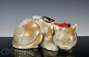 Unusual Large Antique Japanese Porcelain Statue Okimono Of Sleeping Cat