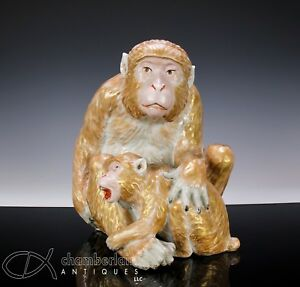 Massive Antique Japanese Porcelain Okimono Statue Figurine Of Monkey With Young