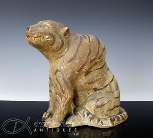 Very Fine And Large Antique Japanese Pottery Statue Okimono Of Seated Tiger