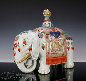 Massive Antique Japanese Porcelain Okimono Statue Of Standing Elephant