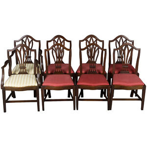 Set Of Eight Antique Gothic Style Dining Room Chairs Cathedral Arch Mahogany Fs