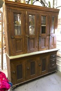 Antique Country Store Display Cabinet Pantry Bar