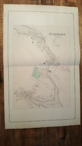 Antique Colored Map Of Pembroke Village Maine George N Colby