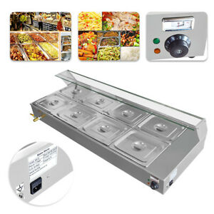 110v Stainless Steel 8 pan Bain marie Restaurant Food Warmer Buffet Steam Table