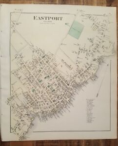 Antique Colored Map Of Eastport Village Maine George N Colby Co 1881