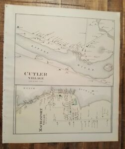 Antique Colored Map Of Cutler Village Maine George N Colby Co 1881