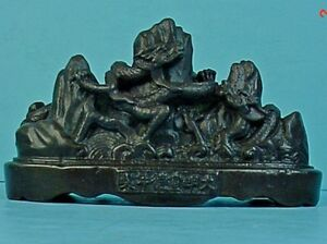 Small Antique Chinese Bronze Dragons In The Mountains Sculpture
