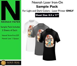 sample Pack Neenah Laser Iron On Heat Transfer Paper For Light And Dark 8 5x11