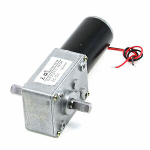 Dc 12v 14rpm 1 7a 30kg cm High Torque 8mm Double Shaft Turbine Worm Geared Motor