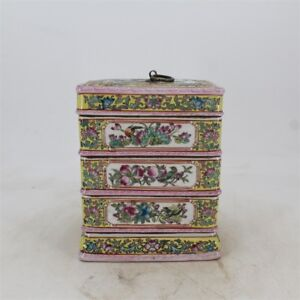Chinese Old Marked Famille Rose Colored Flower Bird Poem Porcelain Snack Box