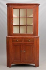 Antique American Pine 2 Part Country Corner Cabinet Cupboard China Cabinet