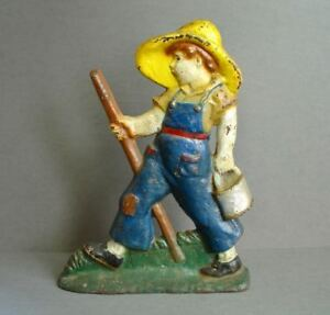 Vintage Cast Iron Doorstop Huckleberry Finn 12 1 2 X 9 1 2