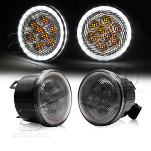 Bestdeal Led Turn Signal Light Smoke Lens Halo Angel Eyes Lamp For Jeep Jk Tj Lj