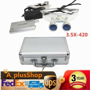 Dental Loupes 3 5x 420 Surgical Binocular Optical Glass head Light Lamp box Kit