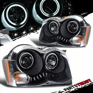 ccfl Halo fit 2008 2010 Jeep Grand Cherokee Led Projector Black Headlights Pair