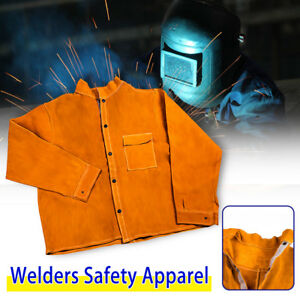 Welder Jacket Protective Coat Cow Leather Apron Welding Welders Safety Apparel