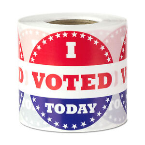 I Voted Today Stickers Election Citizen Democrat Ballot Labels 2 Round 1pk
