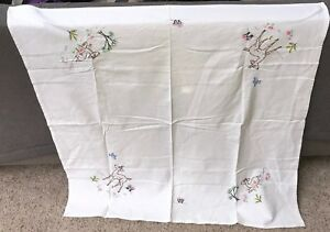 Vintage Hand Embroidered Table Cloth Beautiful Spring Flowers Fawn Blue Bird