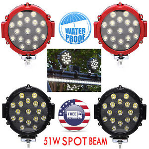 51w Round Led Light Pod 7inch Spot Work Off Road Roof Bar Bumper Driving Blk Ce