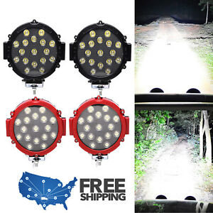 Round Cree Led Light 51w Fog Lamp 7inch Spot Work Offroad Roof Bar Bumper Truck