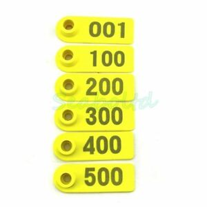 Yellow Ear Tag Plastic Livestock Tag For Goat Sheep Pig Cow Number 1 500