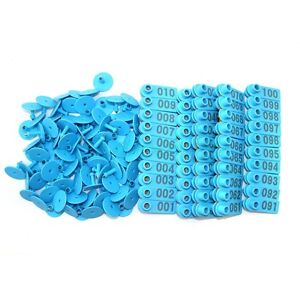 Blue 001 100 Number Plastic Livestock Ear Tags Animal Tag For Goat Sheep Pigs
