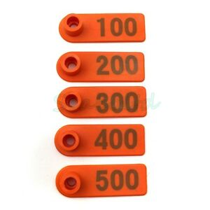 Plastic 1 500 Number Animal Livestock Ear Tag Set For Goat Sheep Pig Cow Orange