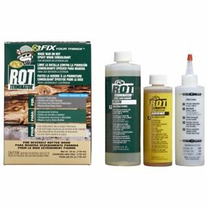 240168 Pc rot Terminator Two part Epoxy Wood Hardener Oz Bottles Amber