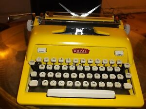 Antique 1960s Sunshine Yellow Royal Manual Portable Typewriter W Carry Case