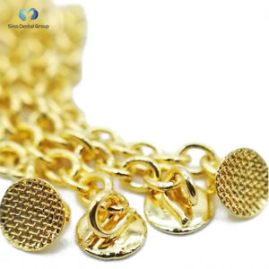 10pcs Dental Orthodontic Golden Eruption Appliance With Round Traction Chain