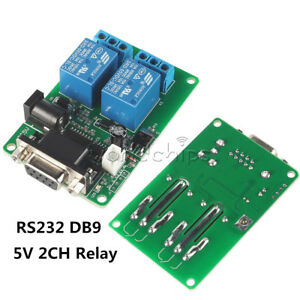 Dc 5v 2ch Rs232 Db9 Serial Control Relay 9 12v 2 Channel Switch Board For Scm Pc