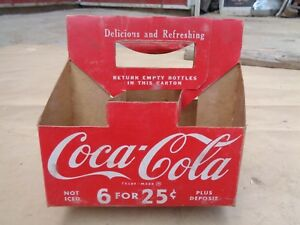 Vintage Coca Cola 6 Pack Bottle Carrier Cardboard 6 For 25 Coke Holder Picnic
