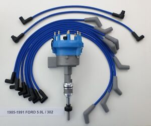 1985 1991 Ford 5 0l 302 Efi Distributor Blue Performance Spark Plug Wires Usa