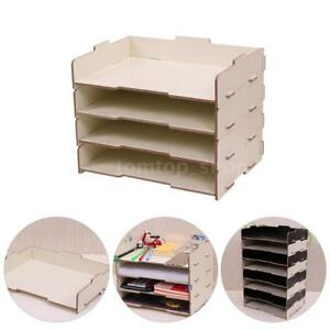 Wood Desk Organization For File Organizer Folders File Mail Sorter 4 Layers S6n2