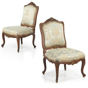 19th Century Pair Of French Upholstered Side Chairs In Carved Walnut Antique