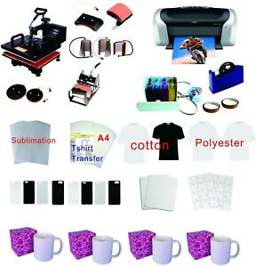 15x15 8in1 Pro Sublimation Heat Press Machine Epson Printer C88 Ciss Kit