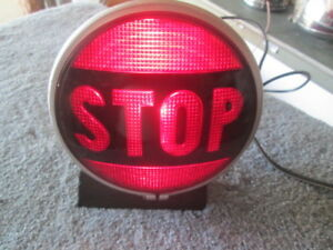 Vintage Cats eye 100 Stop Light With Word Stop 6v Works Perfect